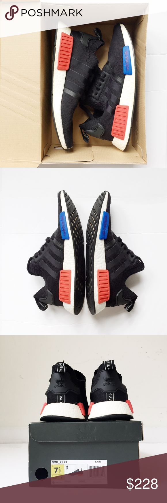 Details about Adidas Nomad Runer Primeknit NMD Core Black Lush Red S79168