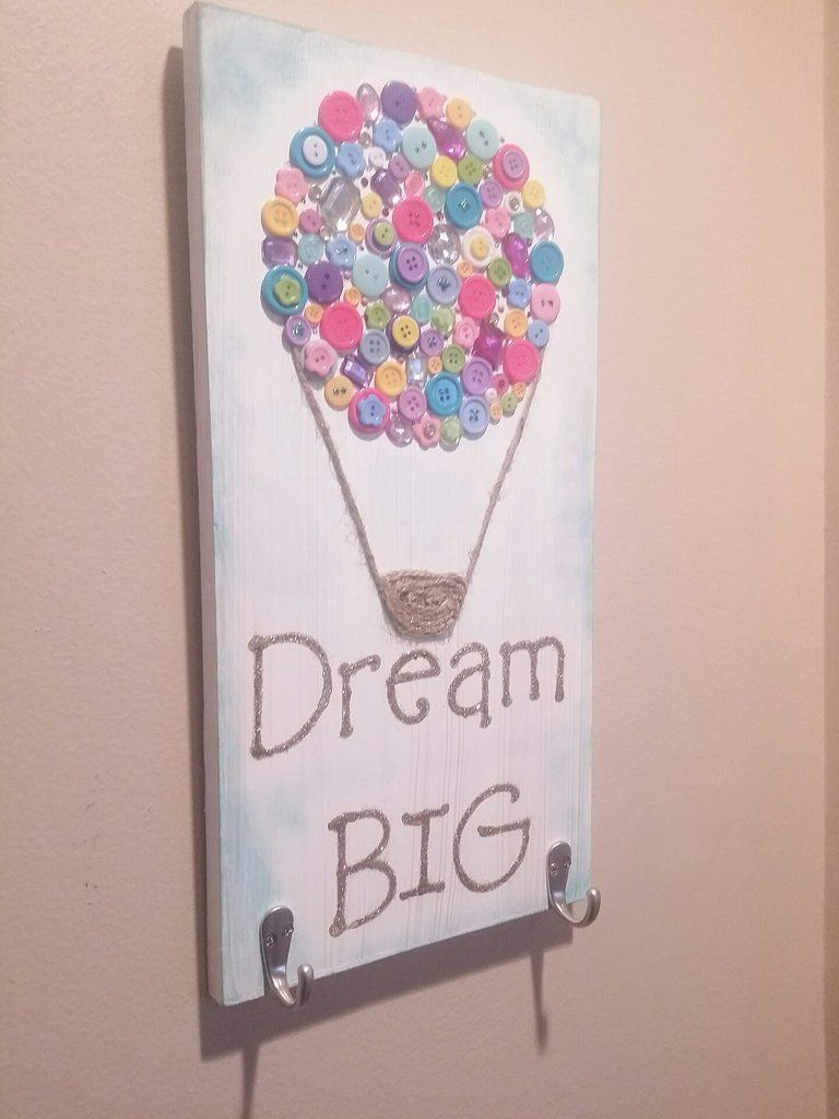 Wood Sign With Button Art Hot Air Balloon By Gr8Byz -2665