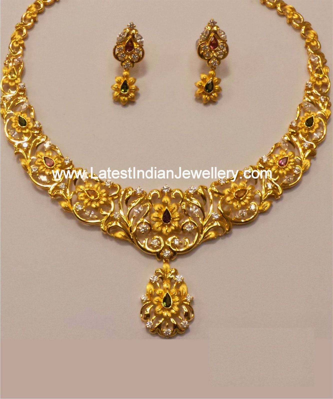 Indian Gold Jewellery Necklace Designs With Price: Dual Tone Gold Necklace Set