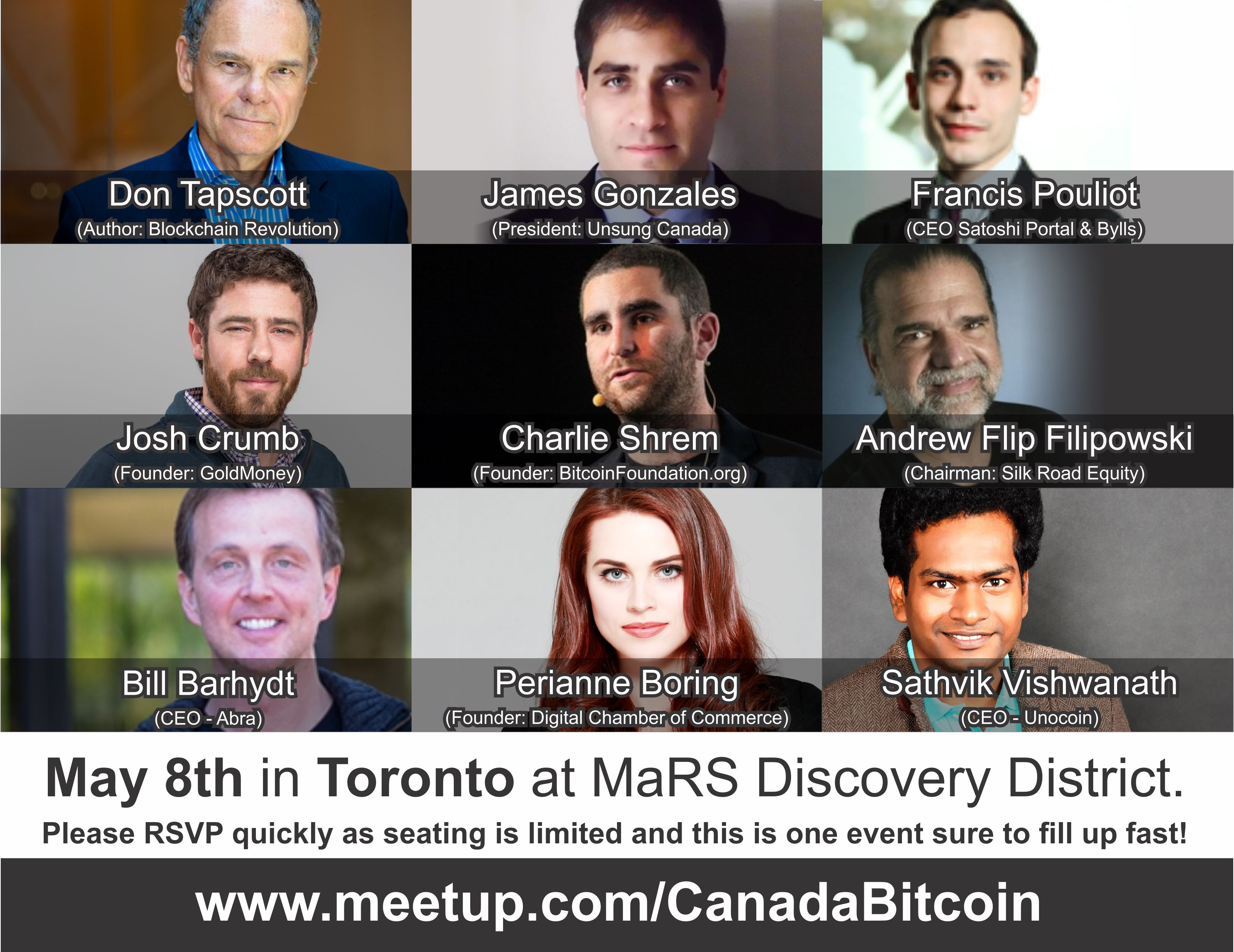 May 8th in Toronto.  One of the biggest Bitcoin Blockchain events ever.  RSVP at your earliest as space is limited: https://t.co/HGWWSO3FTi