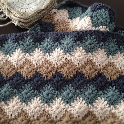 A Harlequin stitch blanket - pattern available from http://www.berroco.com/comfort_afghans/Free_Greenway_pattern_from_Comfort_K_C_Afghans.pdf