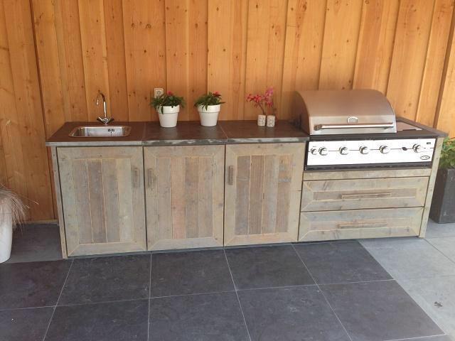 Barbecue buitenkeuken steigerhout bbq מטבח חוץ in