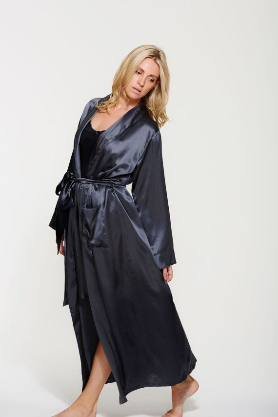 Long Pure Silk Robe - Silk Dressing Gown - Floor Length ...