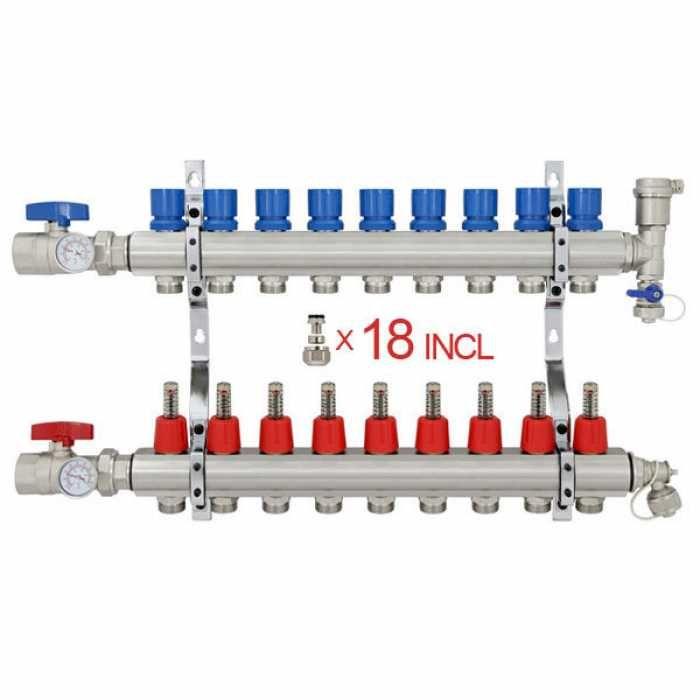 9 Branch Stainless Steel Pex Heating Manifold W 1 2 Pex Adapters Radiant Heat Pex Tubing Radiant Floor Heating