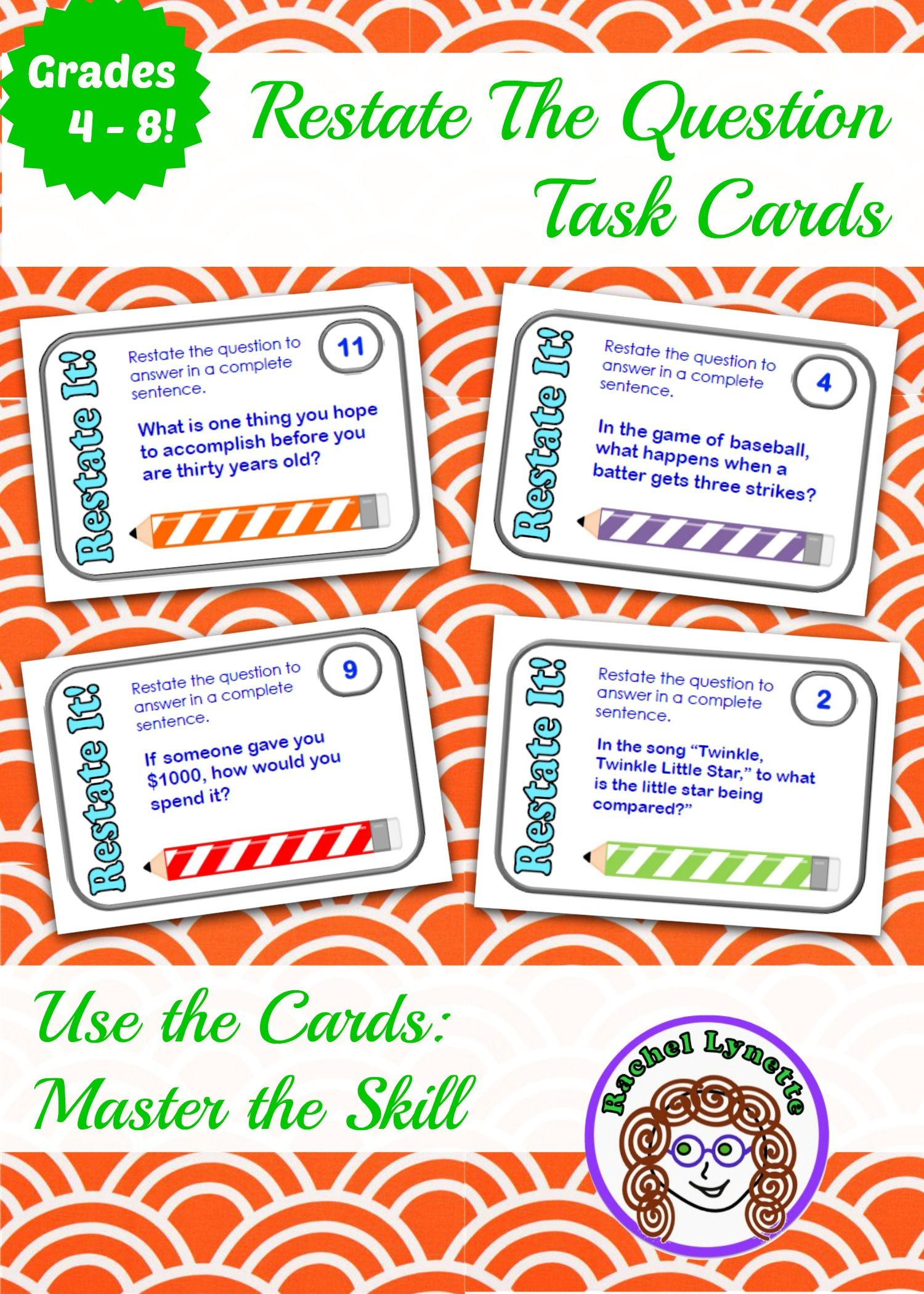 Restate The Question Task Cards The Perfect Way To Master This Skill