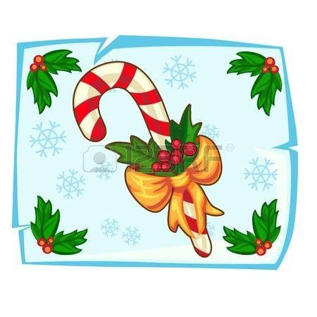 candy cane symbol: Weihnachten Zuckerstange und Holly Beere in Stück Eis. Vektor-Illustration, Urlaub Symbol