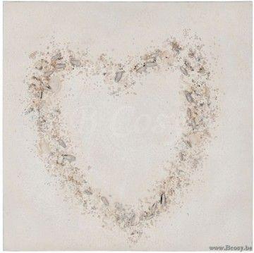 J Line Schilderij Hart Schelpen Canvas Hout Mix L 60 Jline By Jolipa 70112 Schilderij Muurdecoratie Decoratie