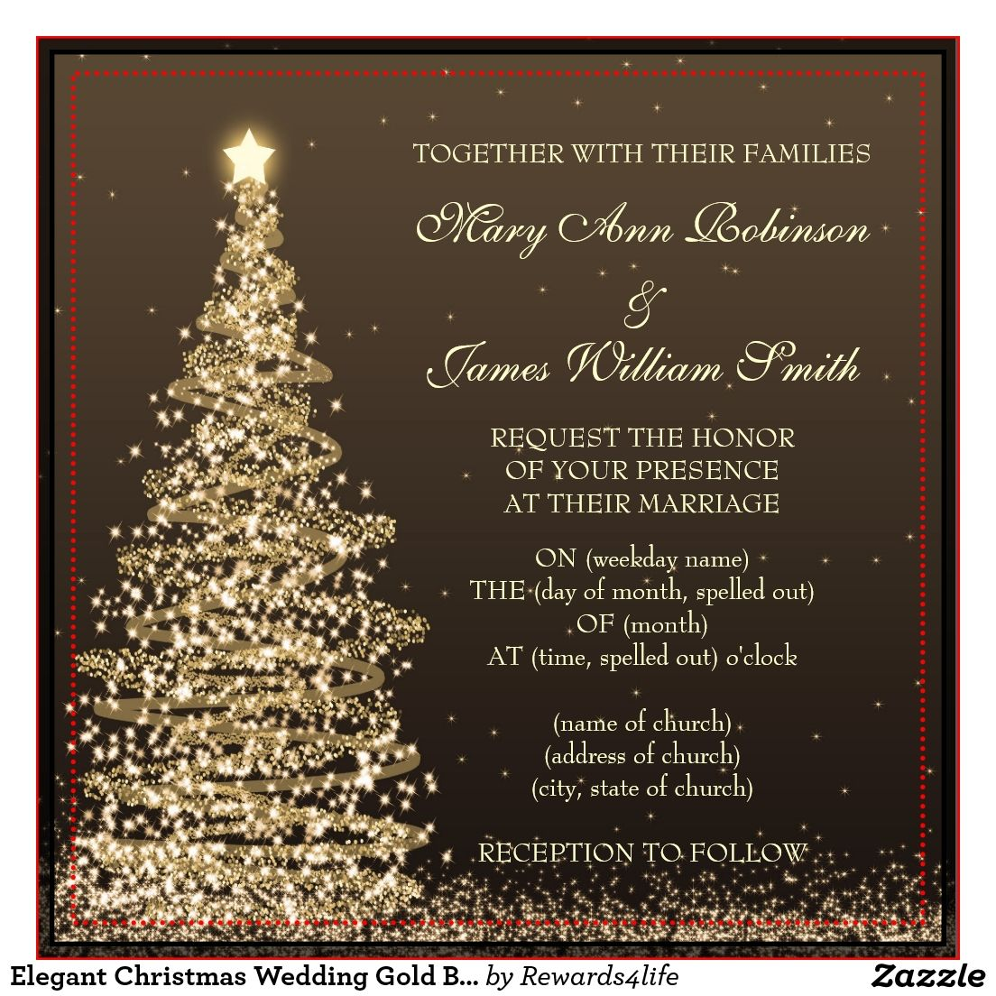 25c7180e3aa4 Christmas Wedding Invitations   Announcements