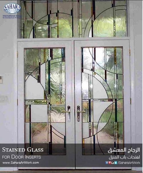 A Very Unique Stained Glass Door Inserts With Modern Design Stained Glass Door Door Glass Design Traditional French Doors