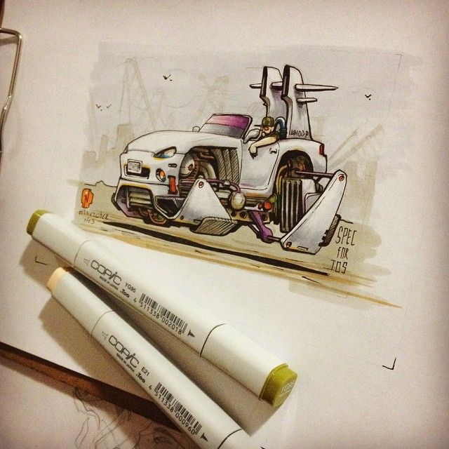 #inktober No.3 Done. #inktober2GO #inktober2014 #nitrouzzz #AndreyPridybaylo #drawing #sketch #sketchaday #sketchaday #car #spaceship #scifi #ink #mazda #mazdamx5 #mx5 #flyingcar #copic #copicart #copicmarkers #markers