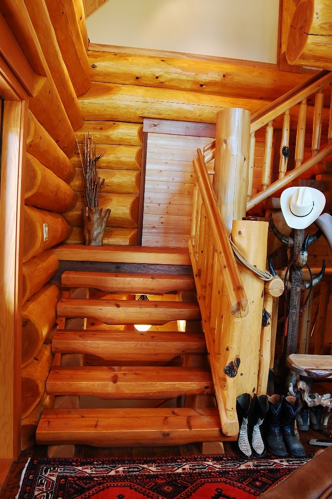 full scribe log homes bebe love this rustic staircase