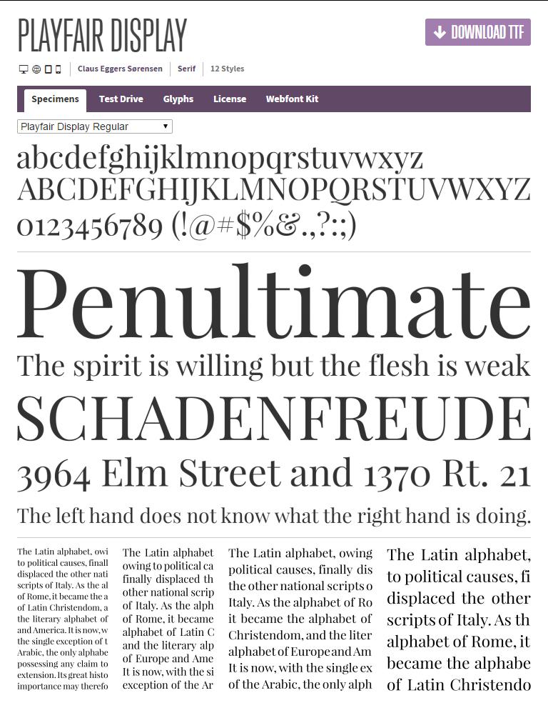 Google font ) Playfair Display----> modern serif