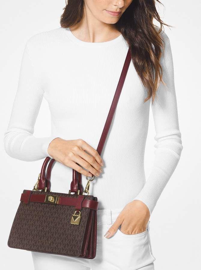 43043b2faa51 MICHAEL Michael Kors Tatiana Mini Logo and Leather Satchel ...