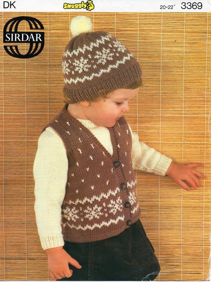 c04c32a6ab61 Vintage baby fair isle waistcoat cap jumper knitting pattern PDF ...