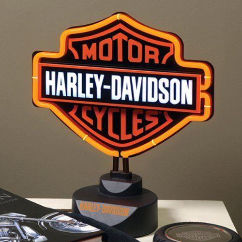 Harley Davidson Motorcycle Bar Shield Logo Neon Table Or: Harley Davidson Neon Table Lamp . $89.99
