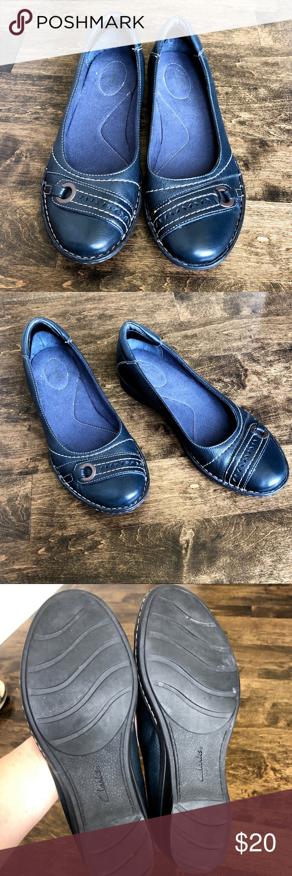 Clarks Flat Navy Shoes with Buckle 9.5