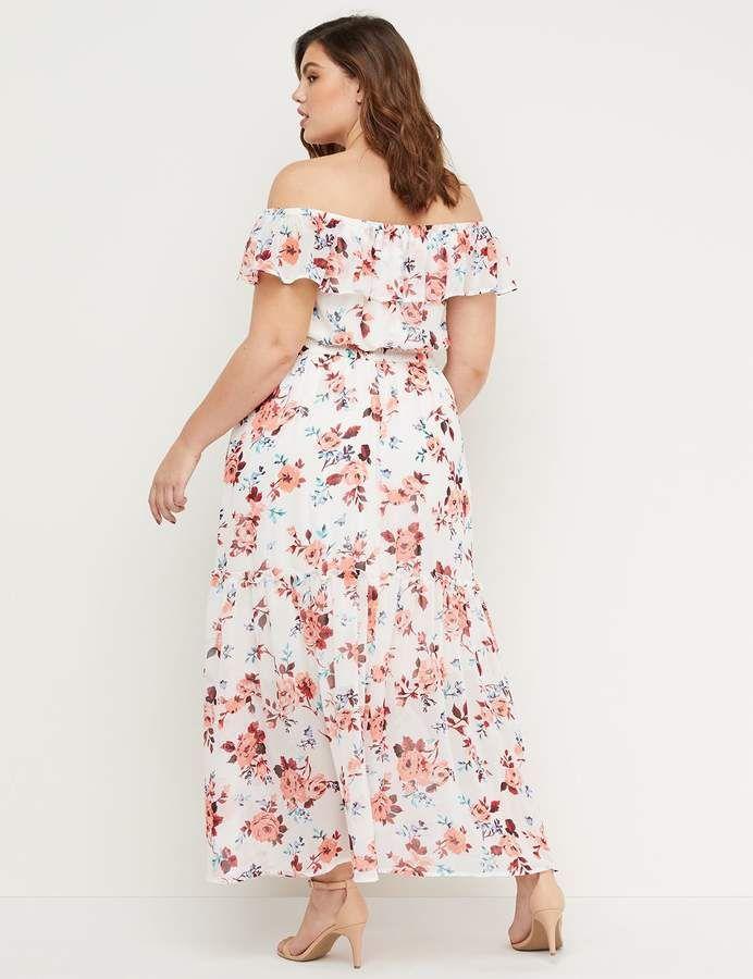 fec11f9407e0 Lane Bryant Floral Off-the-Shoulder Smocked Maxi Dress in 2019 | My ...