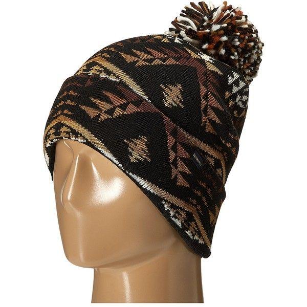 7dad77f1aa Pendleton Pom Pom Beanie (Diamond River Black) Beanies ($25) ❤ liked on  Polyvore featuring accessories, hats, black, western hats, pom pom beanie, pom  pom ...