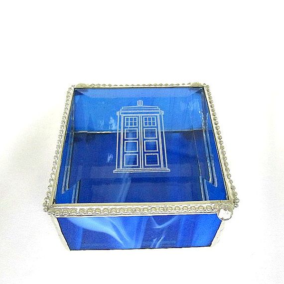 Blue Tardis Stained Glass Box Gift for Him by shopworksofglass, $35.00
