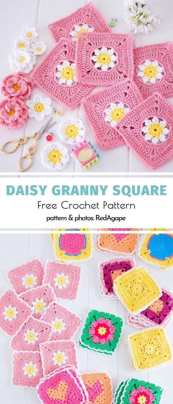 Daisy Granny Square Free Crochet Pattern