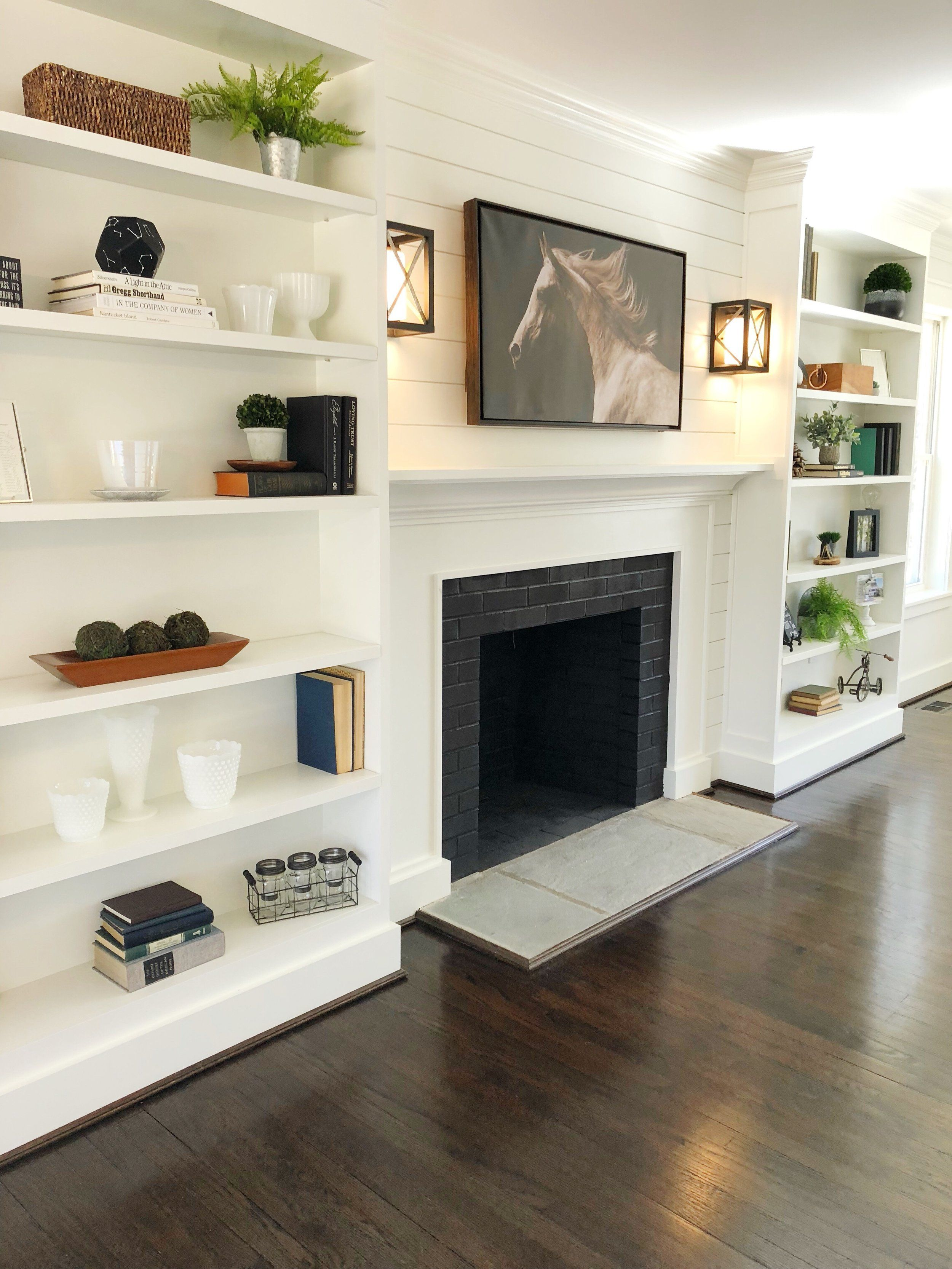 White Shiplap Mantle With Built Ins Designed And Built By Ana G Homes Llc Fairfi Built In Shelves Living Room Built In Around Fireplace Fireplace Built Ins