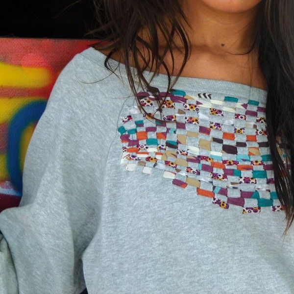 weave ribbons into a sweatshirt.. itd be cool to do this on the whole back