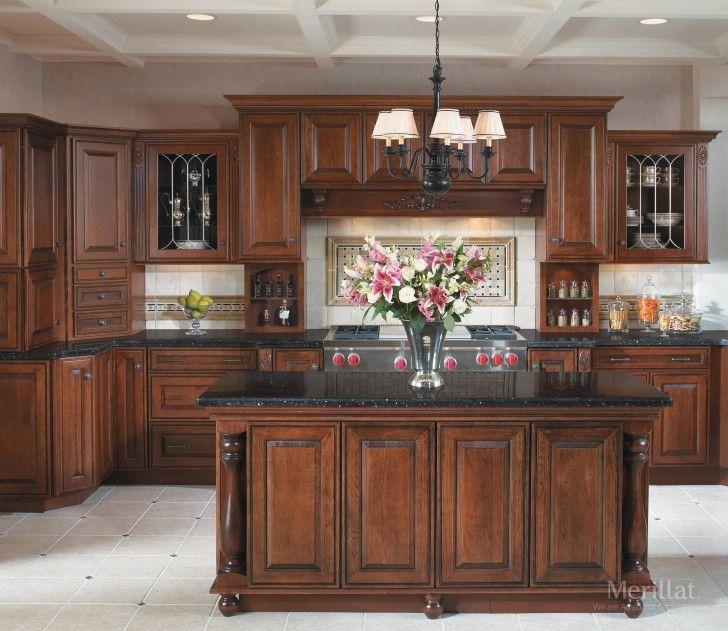 Kitchen Large Brown Wooden Cherry Kitchen Cabinet With