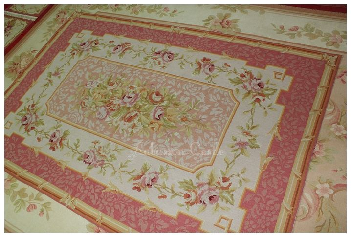 8x10 Vintage Style Country French Rose Aubusson Area Rug