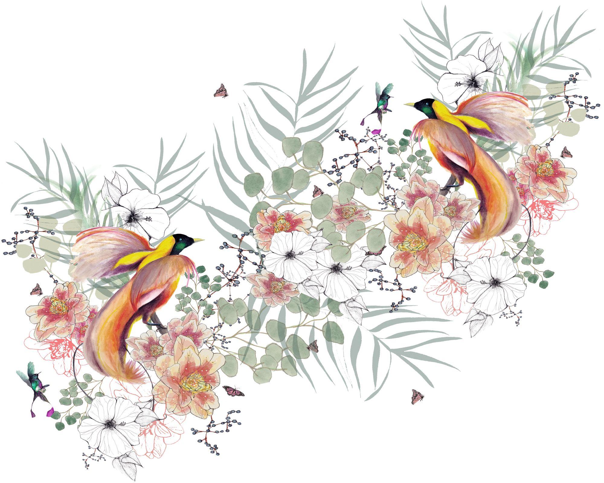 Bird of Paradise Mural, Wall murals, Tree wallpaper mural