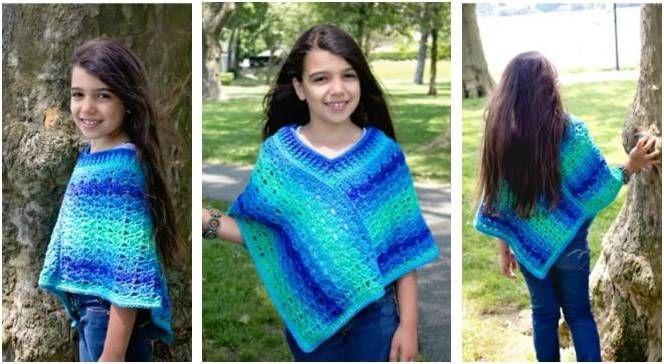 Sea Glaze Crocheted Poncho [FREE Crochet Pattern] | kids crochet ...