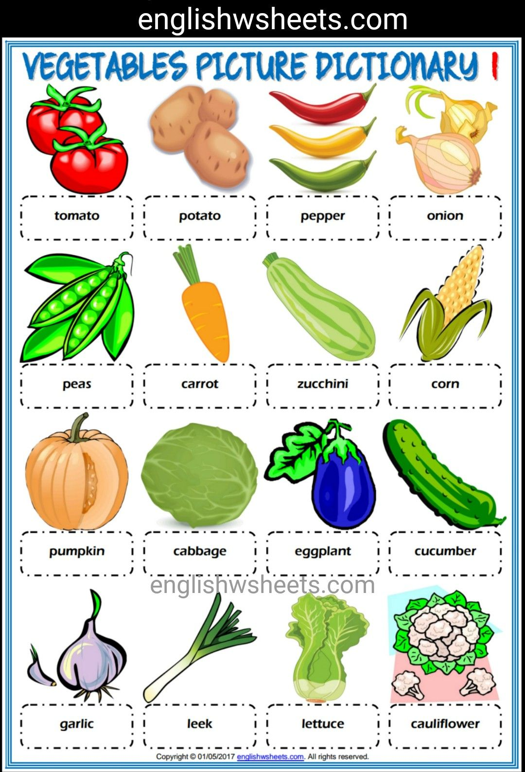 Vegetables Esl Printable Picture Dictionaries For Kids 2