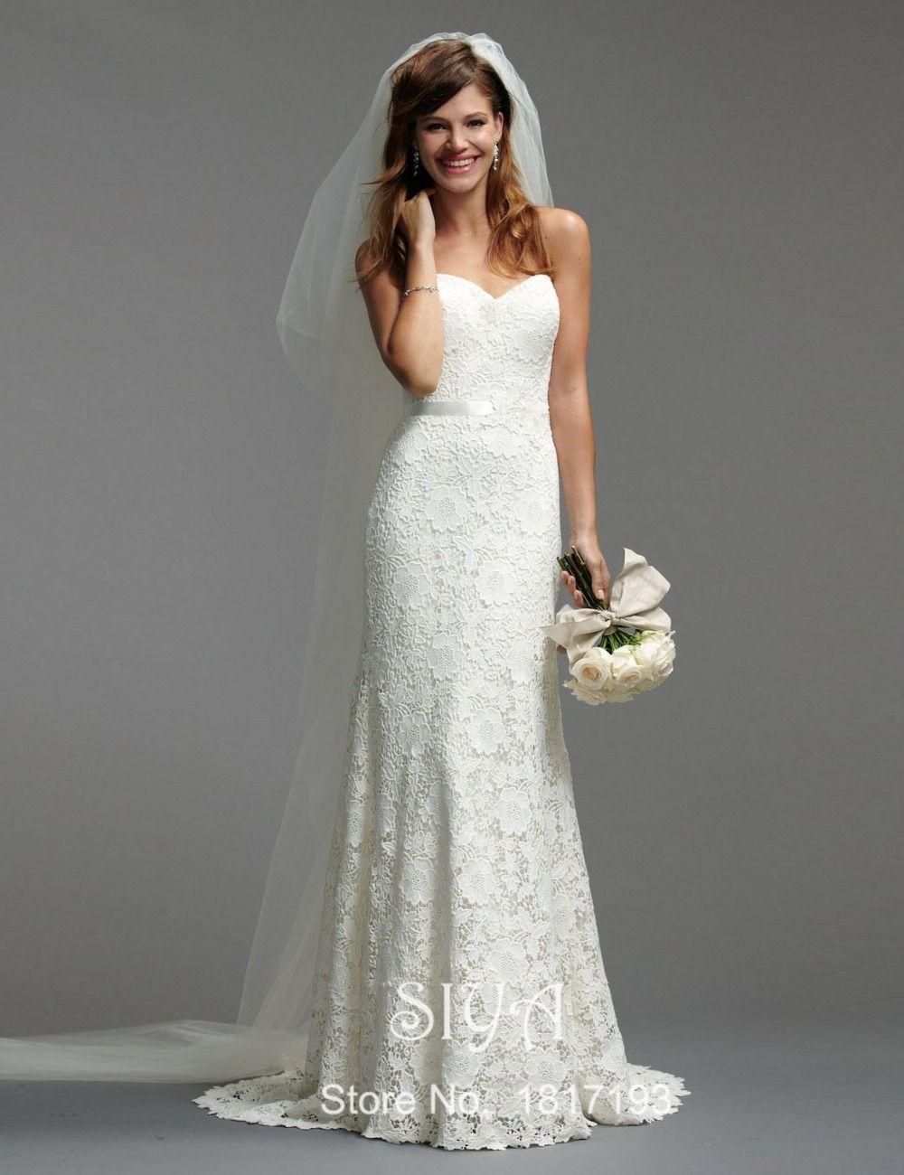 Erfreut Einfache Weiße Spitze Brautkleid Galerie - Brautkleider ...