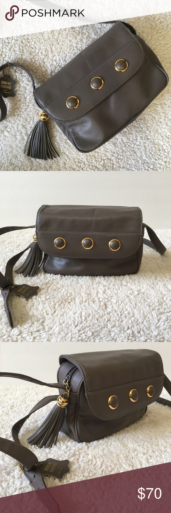 Leather Crossbody Genuine Leather Grey Crossbody With Gold Accents Great Condition! Jaclyn Smith Bags Crossbody Bags