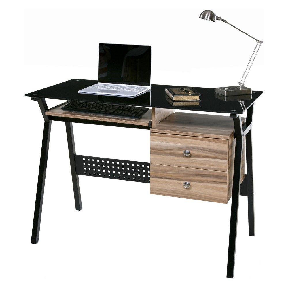 Onespace Basics Glass Desk With 2 Drawers Keyboard Tray Black Walnut