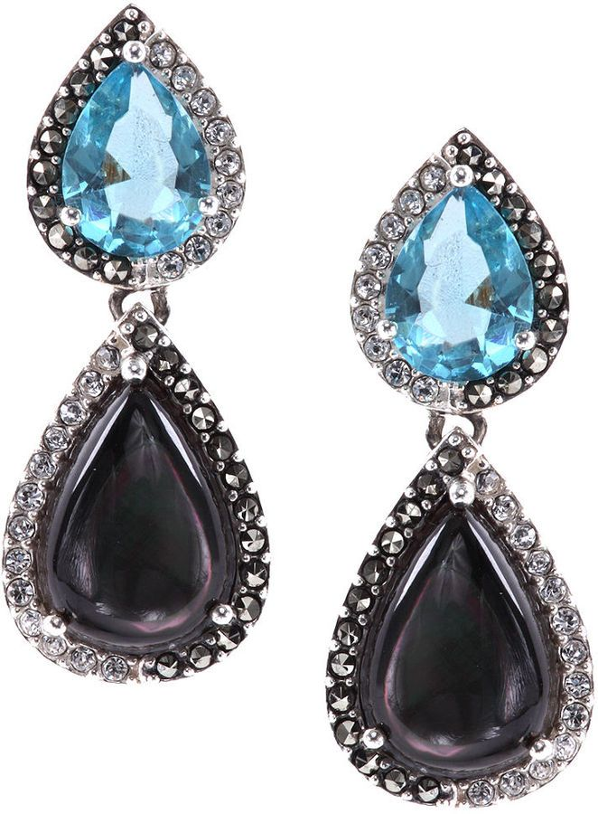 Judith Jack Sterling Silver Black and Blue Double - so glamorous