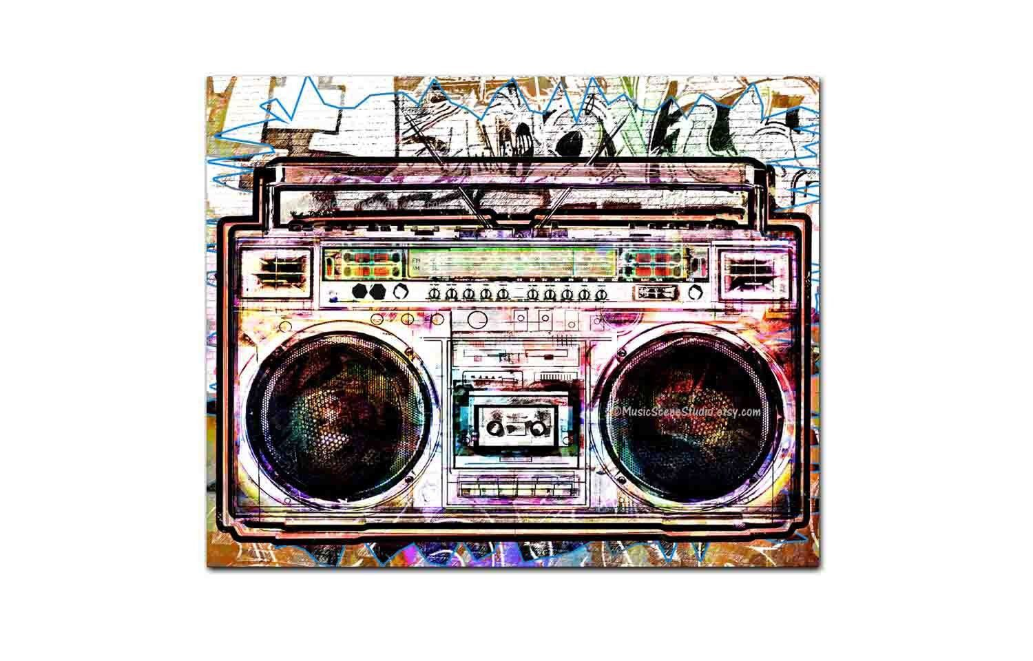 Large Canvas Wall Art Boombox Ghetto Blaster Art Cool Etsy In 2020 Large Canvas Wall Art Modern Canvas Art Large Canvas