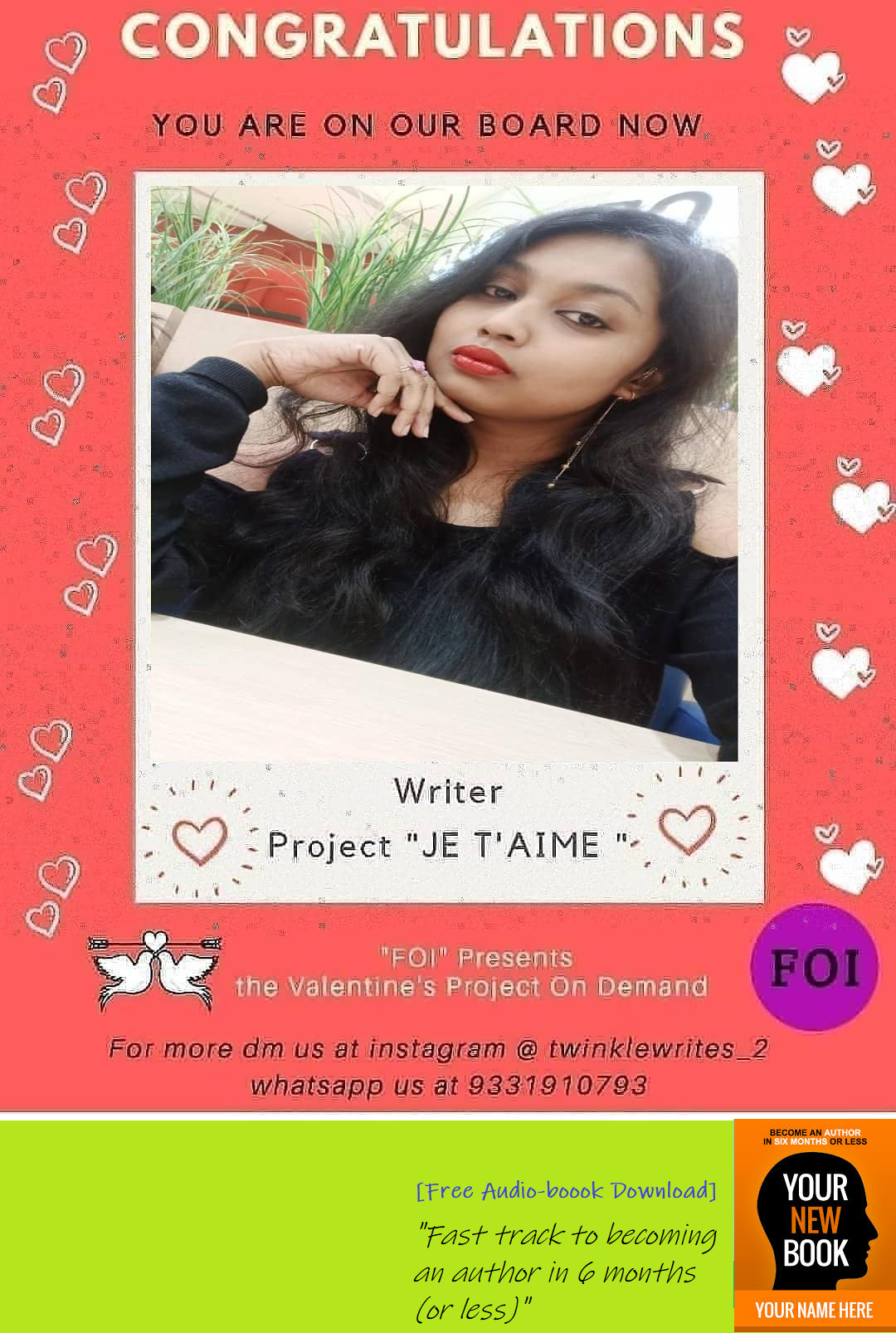 FOI welcomes our talented writer on board, Alina Mohanty, of our