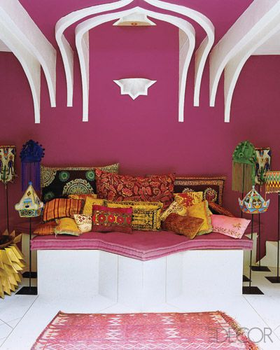 terrace with daybed -an Eclectic Home in Morocco-Elle deco   Balcony ...