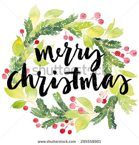 Wreaths, Watercolors and Painted christmas cards