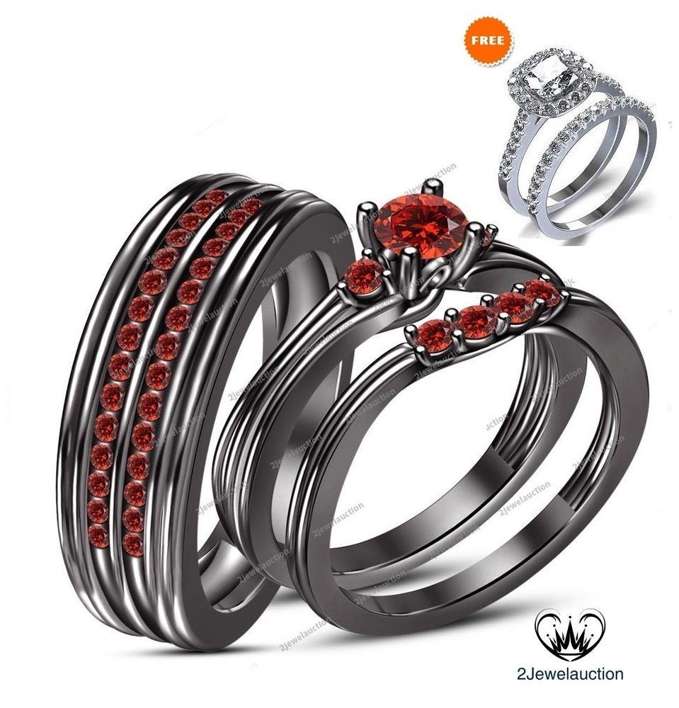 14k black gold 1.30 ct red garnet his and her band bridal trio