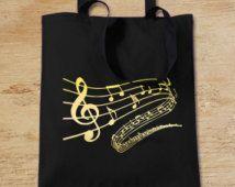 Music Notes Tote Bag, Music Bag, Music Teacher Gift, Black Cotton Long-Handled Shopping Bag for Life UK