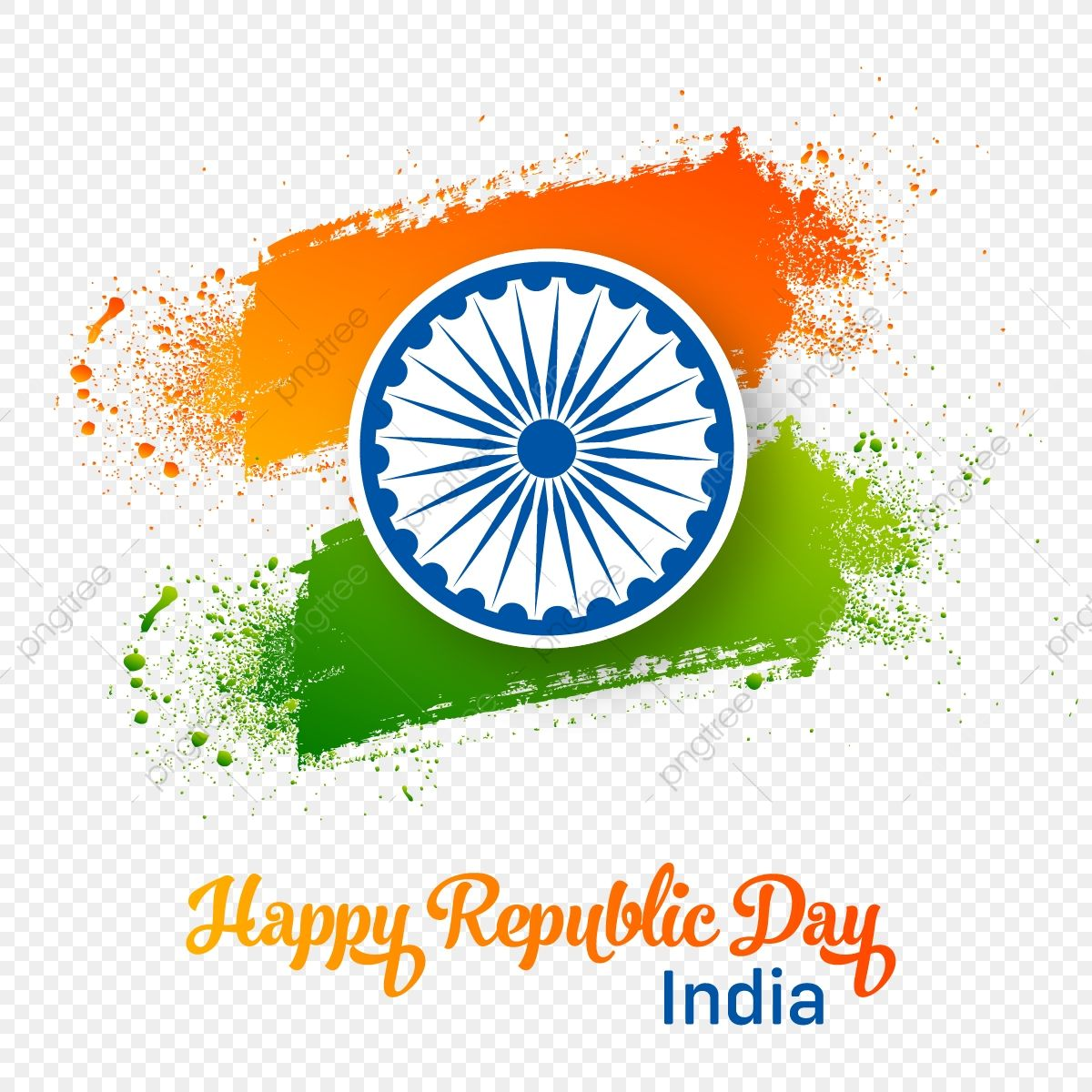 Creative 26 January Happy Republic Day Brush Splash Tricolor Tiranga Republic Day Celebration Indian Png And Vector With Transparent Background For Free Down Republic Day Happy Republic Day Brush Splash