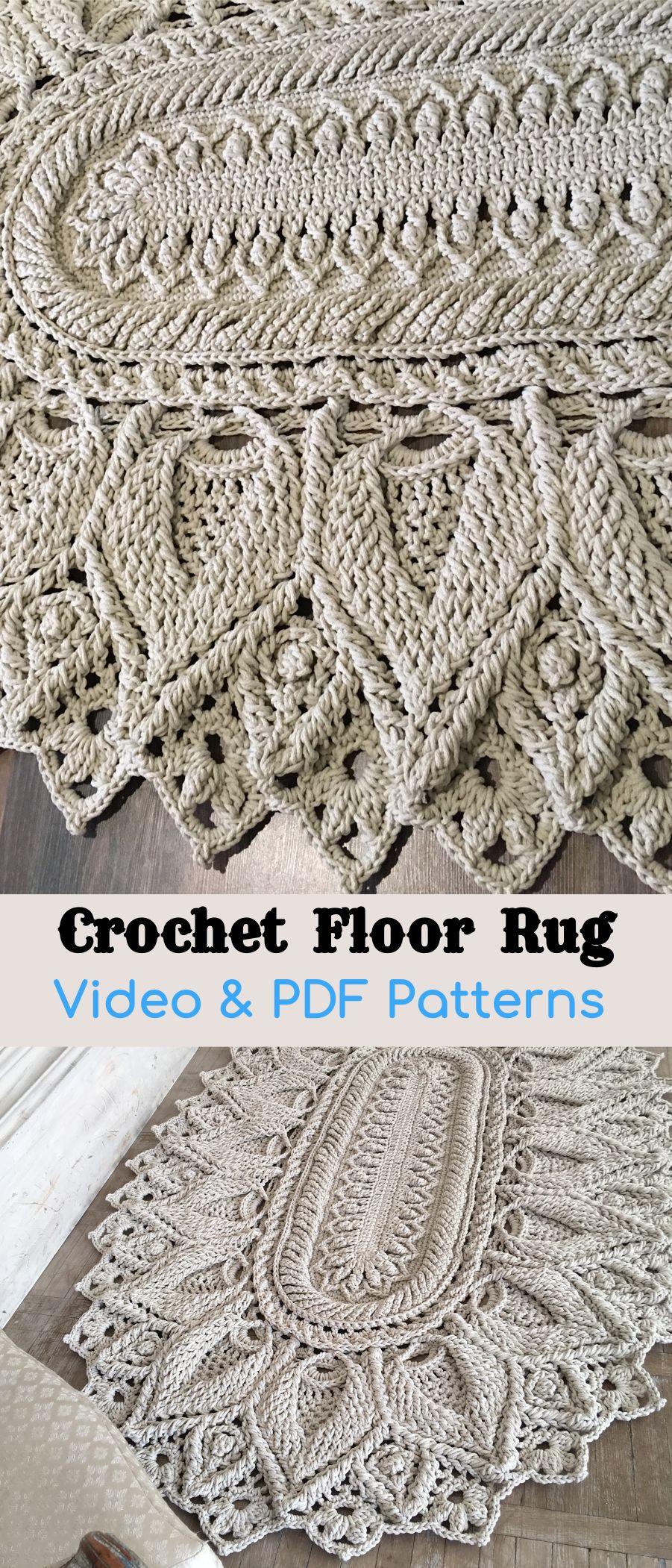 Crochet Floor Rug Video Pdf Tutorials See All Carpet Patterns In 2020 Crochet Rug Patterns Crochet Rug Patterns Free Rug Pattern