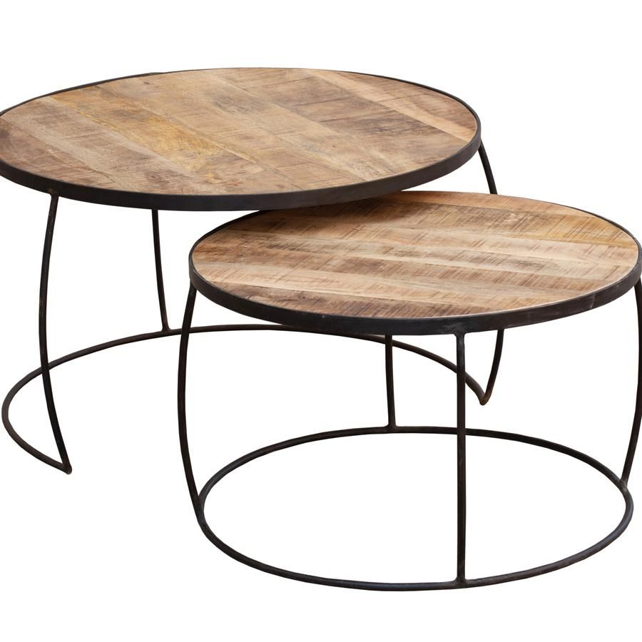 Set Of Two Coffee Tables Mango Wood Top With Iron Base 80 X 80 X 48cm Pale Timber Top Great Space Sav Coffee Table Nesting Coffee Tables Coffee Table Setting [ 900 x 900 Pixel ]