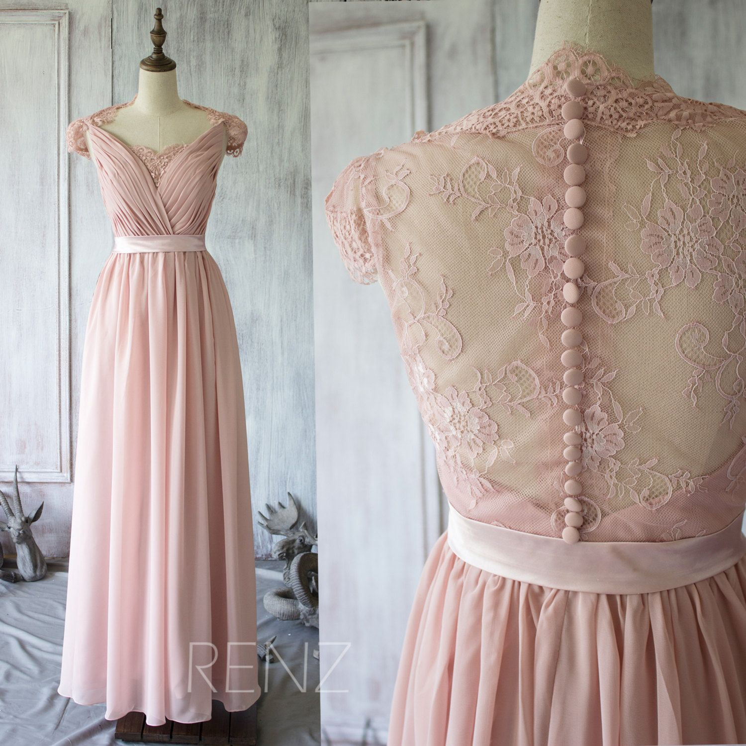 note 2015 blush lace bridesmaid dress cap sleeves dusty pink wedding dress party dress formal dress elegant dress floor length by renzrags on etsy ombrellifo Images