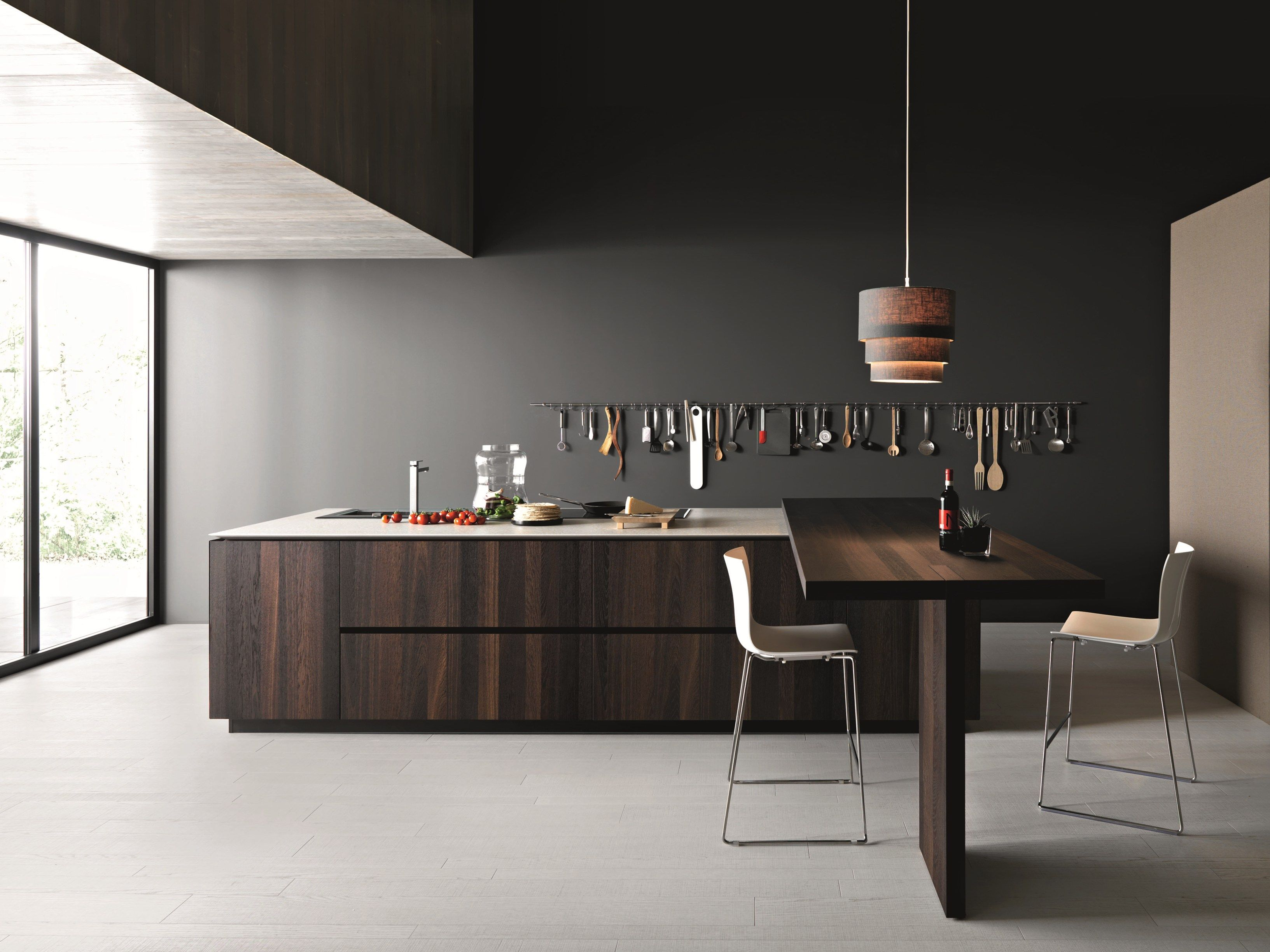 Wooden kitchen with island elle by cesar arredamenti design
