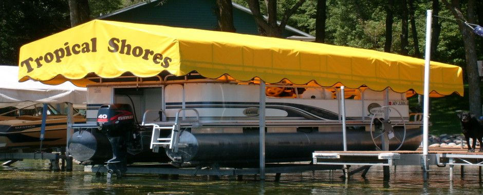 Canvaswork can print your own logo on the end of your new canopy. . Boat LiftThe ... & Canvaswork can print your own logo on the end of your new canopy ...