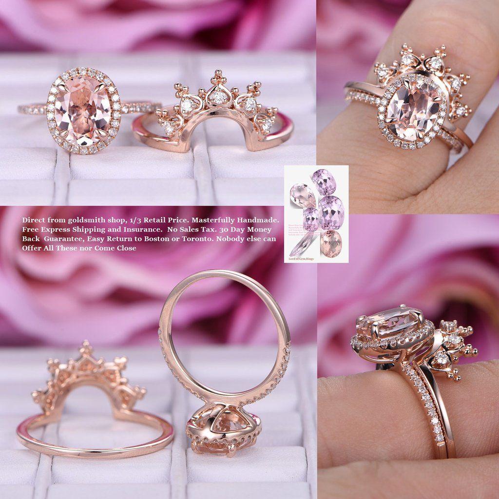Oval Morganite Engagement Ring Sets Moissanite Tiara Wedding 14K ...