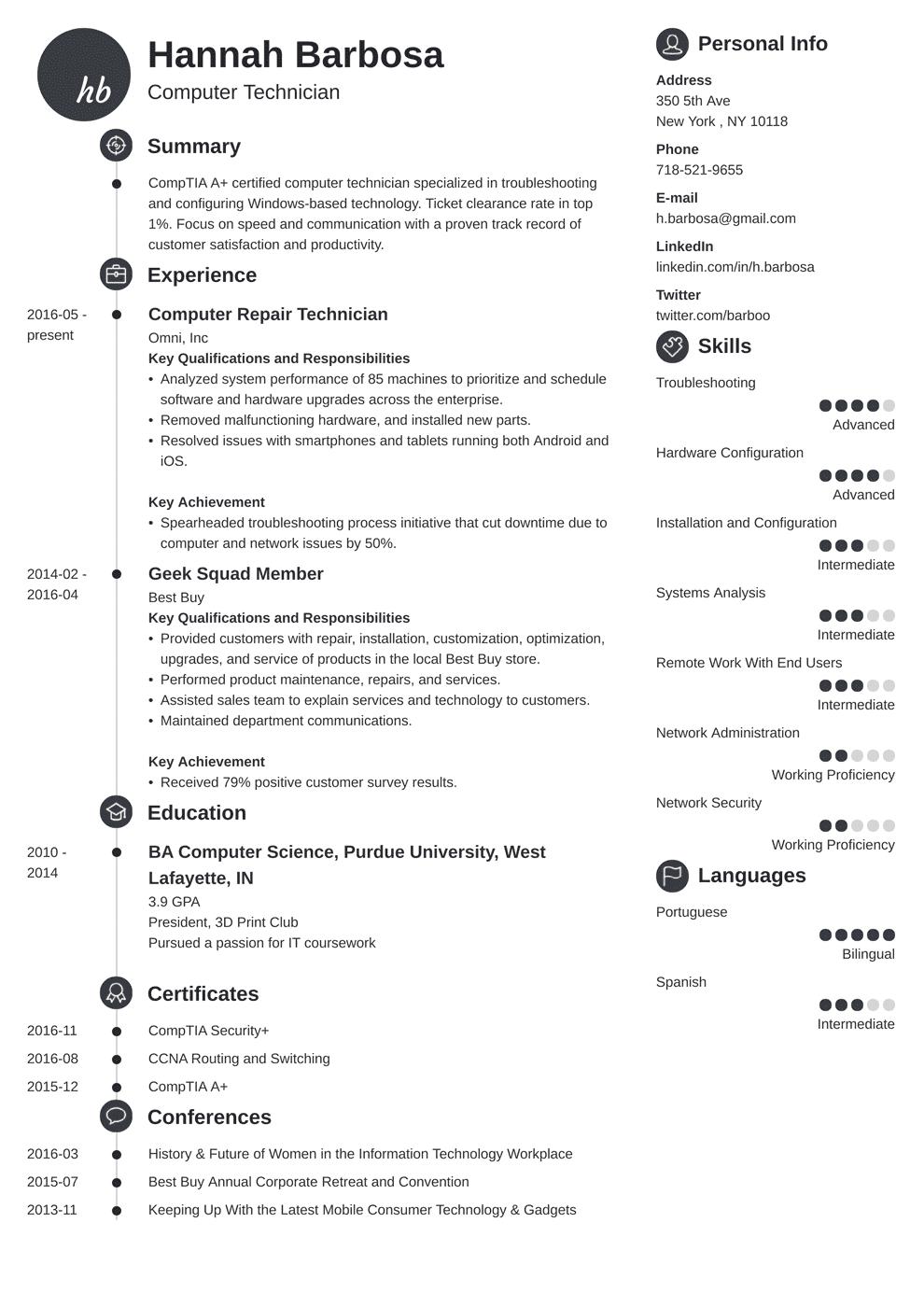 computer technician resume template primo in 2020 Resume