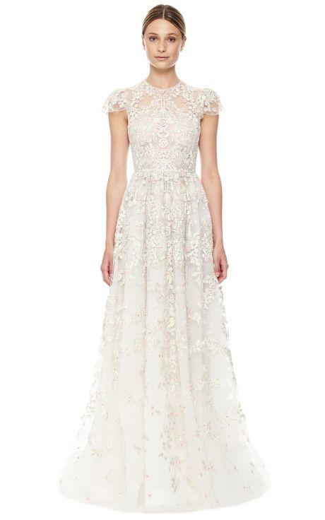Avorio Multi Tulle Illusione Gown By Valentino For Preorder On Moda